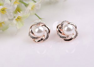 Fashion simulated pearl clip on earrings ladies temperament Windmill hollow roses garland wedding jewelry no ear hole