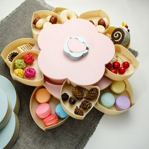 Double Layer Snack Box Candy Plates Petal-Shape Rotating Snack Tray Dried Fruit Plate Storage Organizer with Mobile Phone Holder