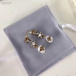 Stud Earrings For And Women Color Anti-allergic Stalls To Send EarBrass natural pearl 032304