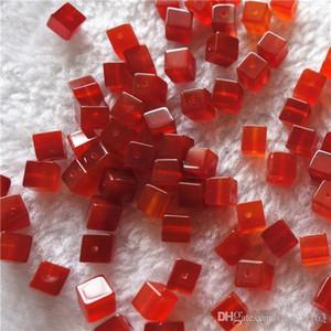 DIY Изготовление ювелирных изделий Сыпучие Beads натуральный красный агат 6мм площади куб Through Hole драгоценных камней 100шт / много