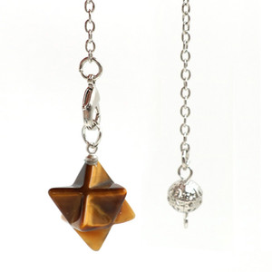 Wholesale 10 pcs Silver Plated Link Chain Merkaba Star Point Tiger Eye Stone Pendant Cherry Quartz Spiritual Jewelry
