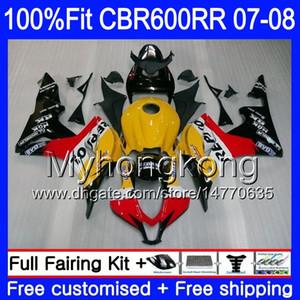 Injection Pour HONDA CBR600 RR 07 08 CBR 600F5 600 RR F5 07 08 283HM.58 CBR600F5 CBR600F5 Repsol orange chaud CBR 600RR CBR600RR 2007 2008 kits de carénage