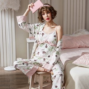 3шт / Set Cotton Maternity Уход Пижамы Комплекты ке Весна Осень Грудное вскармливание Одежду для беременных Беременность пижамы Lounge