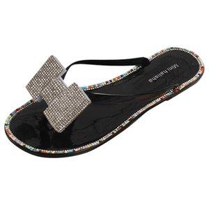 SAGACE 2020 New Trend Flip-Flop Slippers Women Girl Diamond Flat Heels Summer Shoes Non-Slip Open Toe Outdoor Slipper Mujer