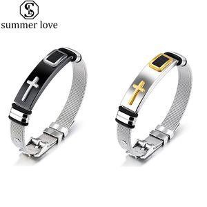 Pulseira Comprimento ajustável para o dia Gift-Z Mulheres Homens Bangle Watch Band design Stainless Steel Net Banda Cristo Cruz Pulseira Como Namorados
