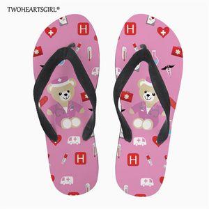 Twoheartsgirl Nurse Bear Women Summer Flip Flops Diy Your Own Design Beach Flipflop Outside Sandals Slipper Custom you logo
