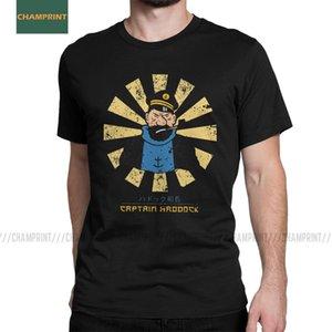 Capitão Haddock Retro japonesas As Aventuras de Tintin T Camisetas homens do algodão Herge Comic Dog nevado camisetas de manga curta MX200611