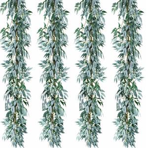 2pcs / lot Yapay Gri Söğüt Yapraklar Garland Sahte İpek Düğün Backdrop Duvar Dekoru İçin Ayıklaması Dekorasyon Yapraklar