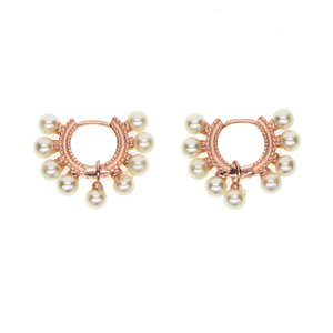 3 Farben Gold Hochzeit Engagement Geschenk Luxus Frauen 925 Sterling Silber Perle Hoop Delicate Pearl Silber Ohrring J190718