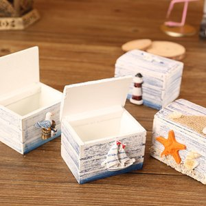 Деревянная коробка ювелирных изделий кольца серьги кейс для хранения коробки Парусное Shell Starfish Sea Style Бытовая Размещение 5 5sf UU