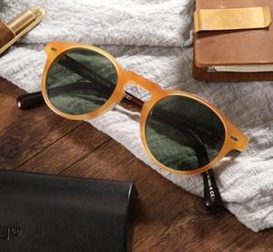 Lunettes de soleil polarisées Vintage Hommes Femmes Lunettes de soleil rondes Oliver OV5186 Lunettes de soleil Gregory Peck Lunettes Plank Glasses avec boîte d'origine