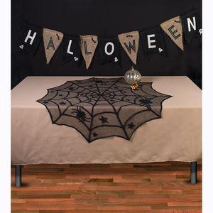 40inch Rodada 1 Pcs Toalha de Renda do Dia das Bruxas Toalha de Aranha Preta Manto de Renda para o Halloween Decoração de Festa Decoração de Fundo