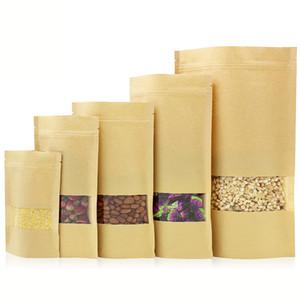 Borse Healthcare01 cibo Borsa barriera dell'umidità di alimentari a chiusura lampo Imballaggio sacchetto di tenuta Brown Kraft Paper Doypack Pouch con finestra trasparente