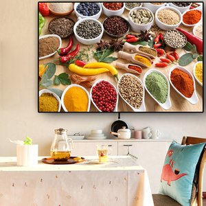 Kitchen Grains Spices Kitchen Decoration Painting Wall Art Pictures Painting Wall Art for Living Room Home Decor (No Frame)