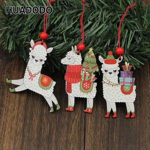 HUADODO 3Pcs Holz Alpaka-Weihnachts Anhänger Ornaments Weihnachtsbaum-hängende Dekoration für Zuhause des neuen Jahres Spielzeug Dekor Kinder
