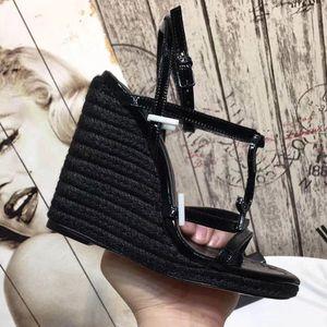 10 cm topuk yaz yeni yüksek topuk kenevir halat sandalet büyük boy bayan Ayakkabıları Seksi Yüksek Topuk Sandalet boyutu; 35-41