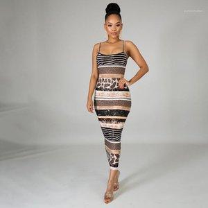 Spagetti Askı Kolsuz BODYCON Elbise Tasarımcı Dişiler Giyim Leopar Baskılı Günlük Elbiseler Yaz Seksi Striped Womens