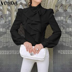 Vonda 2020 Kadın Sonbahar Bluzlar Casual Uzun Kollu Katı Renk Gevşek Bohemian Gömlek Plus Size Şık blusas S-5XL Blouse1 Tops