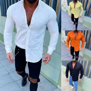 New Style Vente Hot New flammé hommes Bouton-Lapel manches longues Top lin confortable à la mode T-shirt de haute qualité comfortabe