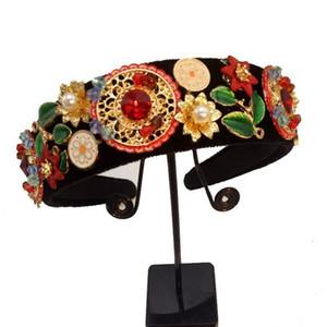 새로운 한정판 바로크 여러 가지 빛깔의 꽃 크라운 수제 티아라 크리스탈 와이드 머리띠 웨딩 헤어 쥬얼리 선물 Y19061503