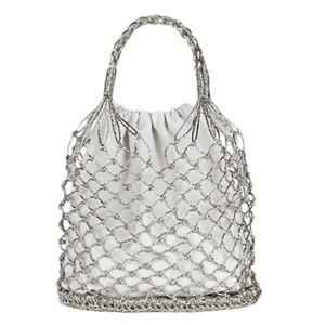 Diseñador-Brillante Cuerdas de papel Bolsa tejida hueca Bolso de paja Bolso reticulado femenino Netted Beach