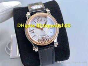 Top feliz relógio Diamonds mulher suíça 2892 Automatic cristal de safira 18K Rose Caso Ouro Diamante Mãe-de-pérola Dial Diamante Ladies Watch
