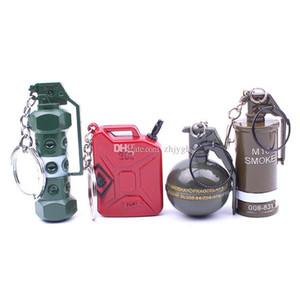 Wholesale creative keychain, Jedi survival escape stun grenade smoke bombs Fragment hand gun weapon toy bucket keychain, promotional gifts