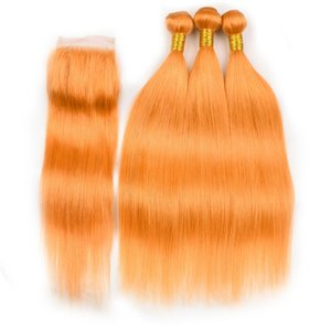 Bundles cheveux orange droit avec fermeture pure orange cheveux raides 3Bundles humain indien avec dentelle fermeture 4x4 orange Extensions cheveux