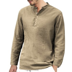 Mens T Shirts Mens Casual Shirt Cotton&Linen Tie Buckle Solid Colors Long Sleeve T-Shirt Casual Clothes S-XXL