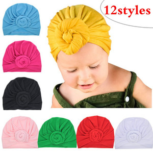 12color Cute Infant Baby Bambini Toddler Bambini Unisex Ball Knot Indian Turban Colorful Spring Cute Baby Donut Hat tinta unita Cotton Hairban