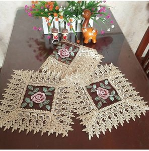 New European Water Soluble Lace Washable Placemat Table Mat Fruit Coaster Insulation Pad Embroidered Tea Tray Set Dust Cloth T200703