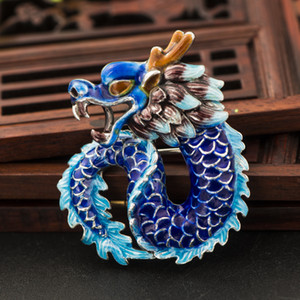 Tai ke tai 925 silver jewelry cloisonne dragon brooch wholesale