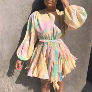Весна цвета контраста женщин вскользь платье Crew шеи дамы платья Модельер с длинным рукавом Женский Одежда с Ruched