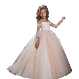 la primera participación de la gasa del desfile de la muchacha Dresse de encaje apliques alta cintura del vestido de niño vestido de la princesa boda de la flor chica en vestido de comunión