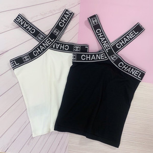 Bayanlar yaz giyim Kadın kaşkorse t gömlek bayan Sling yelek 2019 için yeni ürünler Olağanüstü esneklik Çapraz mektup LOGOSU dokuma