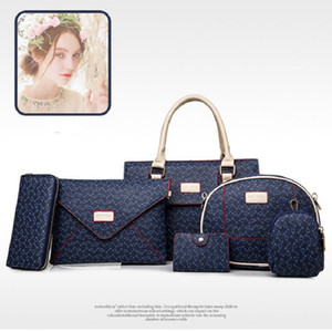 Розовый sugao 2020 новой моды сумки плеча женщин сумки PU кожаный 6шт / комплект сумки конструктора сумки леди сумки BHP