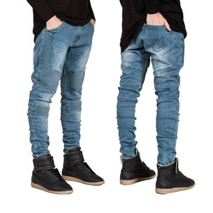 Hi-Street Mens Biker Jeans Motorcycle Slim Fit Washed Men Runway Slim Racer Biker Jeans Strech Hiphop Jeans For Men