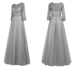 2019 de encaje de plata elegante noche vestidos formales vestido de mamá más tamaño Bateau gasa Mariage madre del vestido de novia por encargo