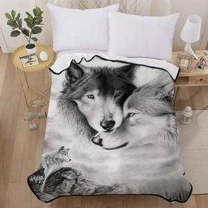 성인 어린이 간단한 로맨틱 살아있는 플란넬 침대 덮개 3D 패션 홈 섬유에 대한 커플 늑대 인쇄 담요