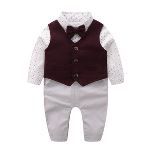 2020 Newborn Baby Clothes Baby Gentleman Clothes Spring Vest Kids Rompers Bow Tie Romper Dress Set