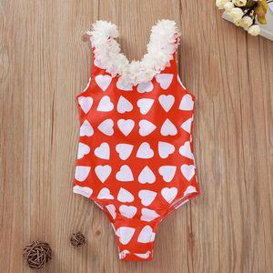 New Fashion 2020 Baby Kids Girls Summer Heart-Shaped Printed Bikini One Piece Swimwear Swimsuit stroje kapielowe damskie