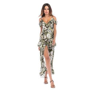 2019 yeni Şık Asimetrik Bölünmüş Uzun Elbise Çiçek Baskı Spagetti Kayışı Sundress Kadınlar Yaz Off-Omuz Elbiseler