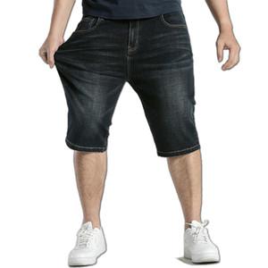 Hombres Tallas grandes 44 46 48 Pantalones vaqueros Pantalones cortos Stretch Casual Algodón negro Denim recto Jean corto para hombres Pantalones