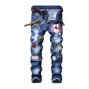 Mens Jeans Europa e América Magro reta Buracos Elastic remendo emblema Hot Sale Mens Calças tamanho grande