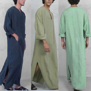 Casual solta Robes Nightdress de 2019 New Men Arábia Thoub Thobe Abaya Robe Daffah Dishdasha islâmica Kaftan árabe vestido Homens
