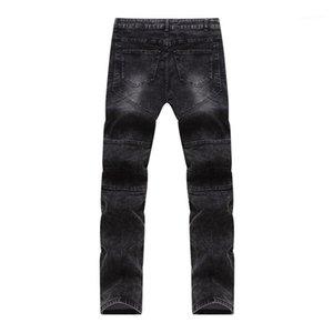 Longo Skinny Jeans Mens Zipper Roupa Fly Slim Fit mediana cintura Jean Pencil Pants Mens Designer