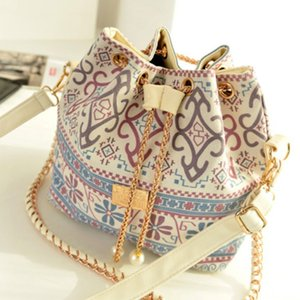 2019 Fashion Women Handbag Pearl Pendant Ladies Diagonal Package Chain Shoulder Bag National Feng Shui Bucket Mouth Bag Clutch