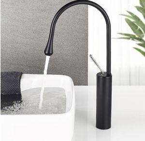 New cross-border foreign trade copper basin faucet bathroom art basin wash hot and cold faucet bathroom black drop faucet, brass body, high