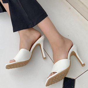 2020 New Summer Women's Slippers High Quality Elegant Square Toe High Heels Sandal Ladies Outdoor Beach Slides Shoes