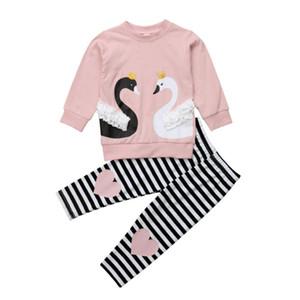 Rosa Crianças Bebés Meninas Outfit Set 2020 Primavera bonito da forma Swan Tops Pants Set roupa da criança Primavera Set Treino 2-6T